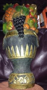 """Wooden hand carved fruit In Container/bowl  21"""" High"""