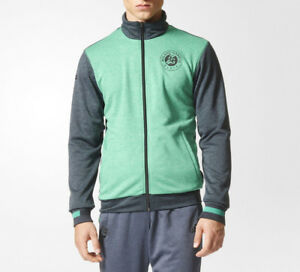 a89427419 Mens Adidas Roland Garros Tennis Jacket Slim Fit Grey Green Track ...