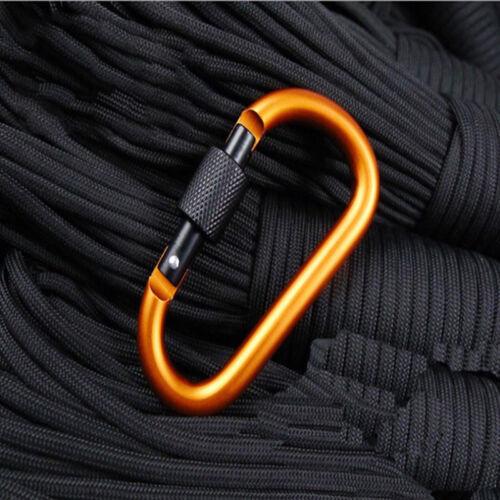 5X Aluminium Karabiner D-Ring Clip Haken Camping Schlüsselbund Schraube H5 YE