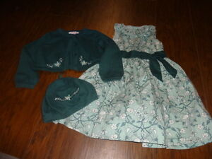 JANIE AND JACK 2T 3T GREEN FLORAL DRESS SWEATER HAT LOT ART NOUVEAU FAIRY