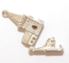 Vintage Sterling Silver Bracelet Charm Opening Church Bride Wedding Day  (3.5g)