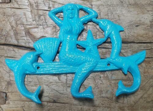 Cast Iron MERMAID Towel Hanger Coat Hooks Hat Hook Key Rack DOLPHIN Turquoise
