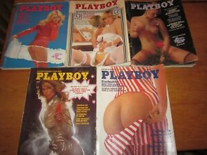 5-Vintage-Playboy-Magazines-1975-March-April-July-August-September