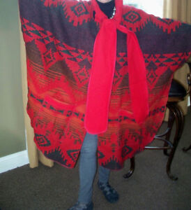 Womens-RED-Wool-BLANKET-CAPE-COAT-Southwest-AZTEC-Boho-Indian-ONE-SIZE-FITS-ALL