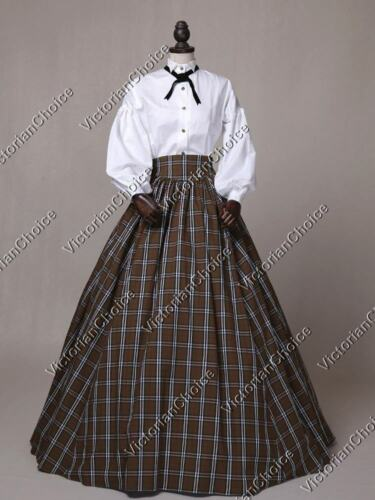 Victorian Costumes: Dresses, Saloon Girls, Southern Belle, Witch    Victorian Civil War Plaid Country Tartan Dress Theater Period Clothing N 314 $149.00 AT vintagedancer.com