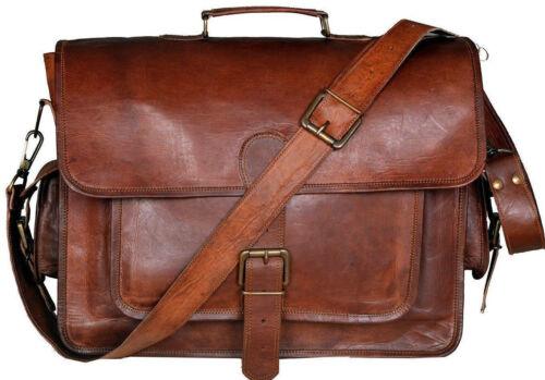 """17/"""" Leather Vintage Messenger Shoulder Men Satchel S Laptop School Briefcase Bag"""