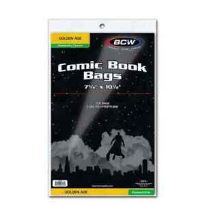"""1 Pack of 100 BCW Resealable 7 5/8"""" Golden Comic Book Storage Poly Bags"""