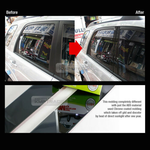 Black Stainless Steel Window Pillar Molding 8P For KIA 2011-2016 Picanto Morning