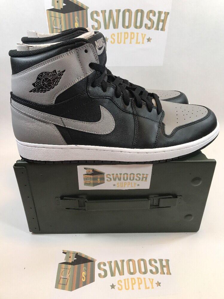 Nike Air Jordan 1 Retro High OG Shadow Black Soft Grey 555088 014 Sz 13 Receipt