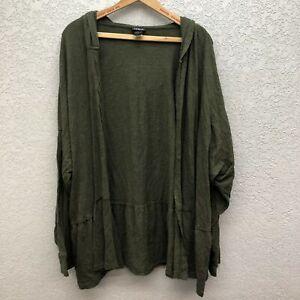 Torrid Knit Hooded Cardigan Sweater Women's 5 Army Green Open Front Peplum Hem