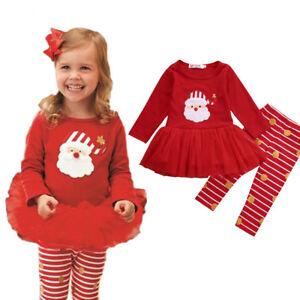 Cute Christmas Santa Baby Girls Dress Outfit Set Tutu Toddler Party