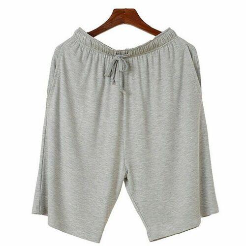 Mens Lounge Shorts Stretch Drawstring Pajamas Pants Nightwear Bottom Solid Color
