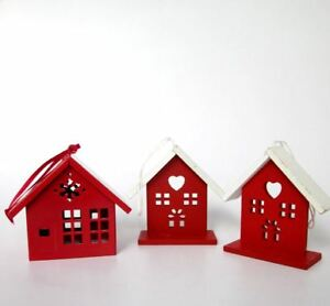 Christmas house red & white tree decorations in wood and tin nordic scandi style | eBay