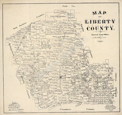 Map of Liberty County TX c1895 repro 25x24