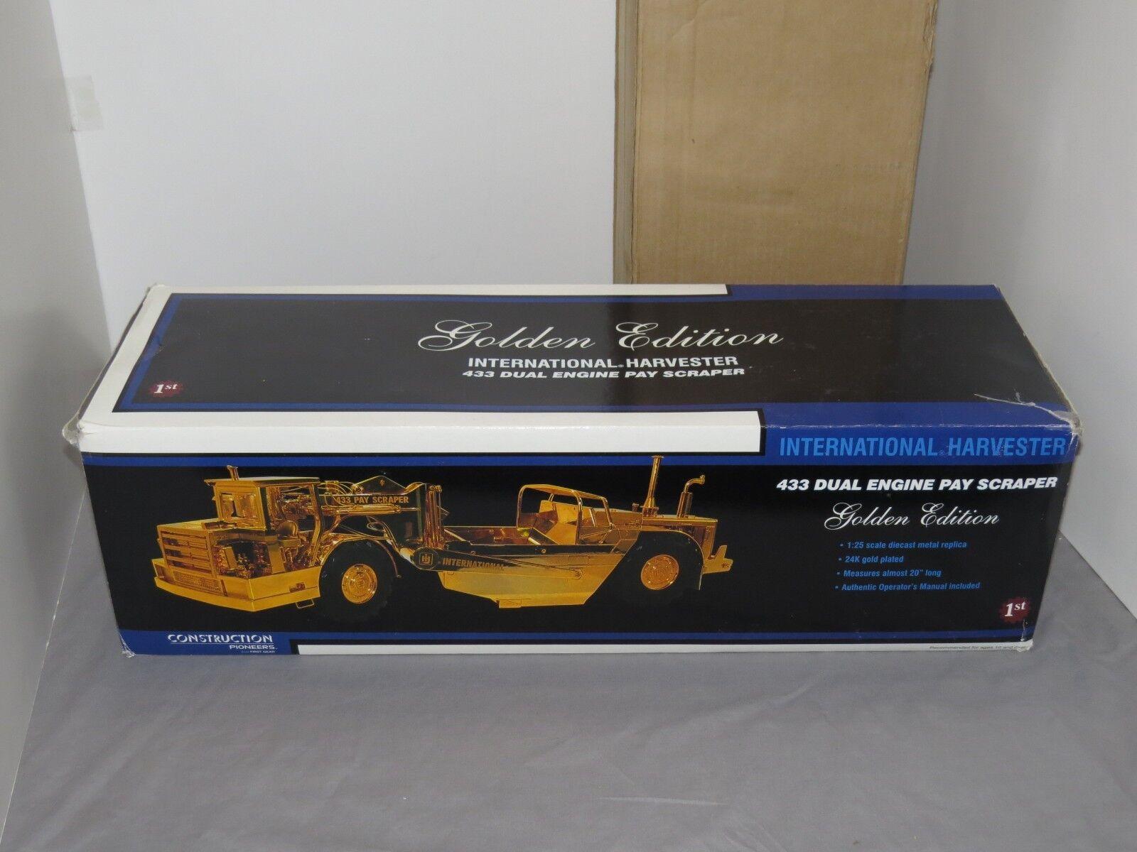 Gold 1 25 FIRST GEAR IH INTERNATIONAL HARVESTER DUAL ENGINE 433 PAY SCRAPER Gold