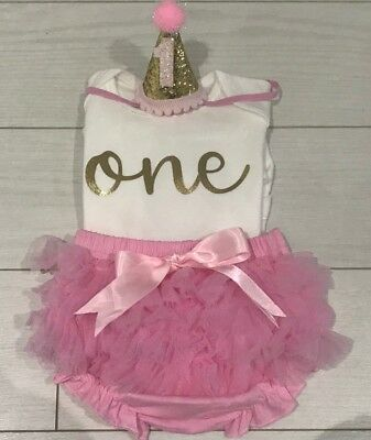 Baby Girls First 1st Birthday Outfit Frilly tutu Knickers Dress Cake Smash Party