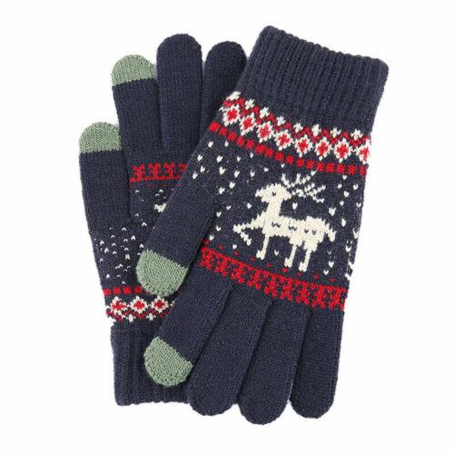Women Men Wool Christmas Deer Knitted Gloves Full Finger Fleece Warm Mittens