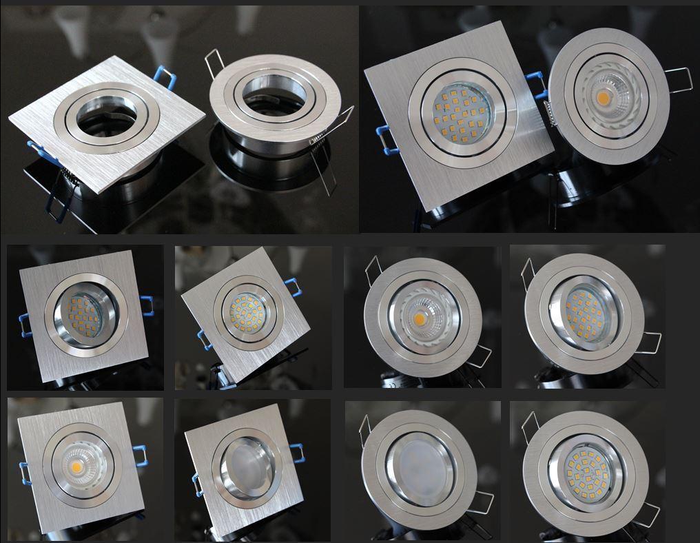 Einbaustrahler Einbau Alu ROSTFREI Spot Rahmen schwenkbar GU10 LED dimmbar  45