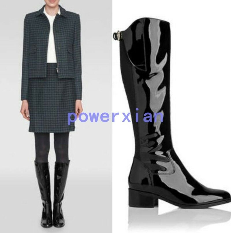 Womens Shiny Patent Leather Knee High Boots Riding Low Block Heels Knight Shoes