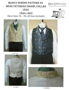 Mens Victorian Shawl Collar Vest 1850-1865 Laughing Moon Bijoux Sewing Pattern 4