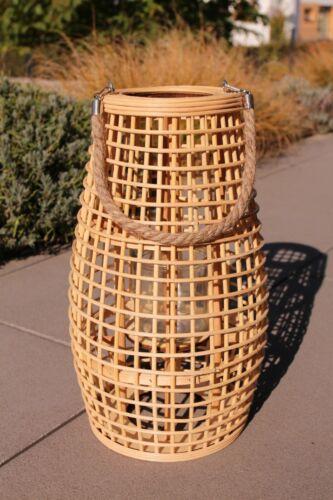 NEU Laterne Bambus Holz mit Glaseinsatz 42 cm hoch Windlicht Rattan Kerze