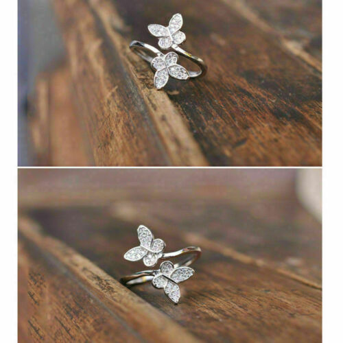 925 Silver Open Ring Adjustable Thumb Size Finger Butterfly Jewellery Fashion