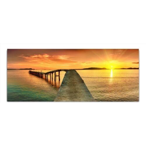 """Kunstdruck Bild Glasbild /""""Sonne Meer Brücke/"""" von DEKOGLAS 125x50 aus Acrylglas"""