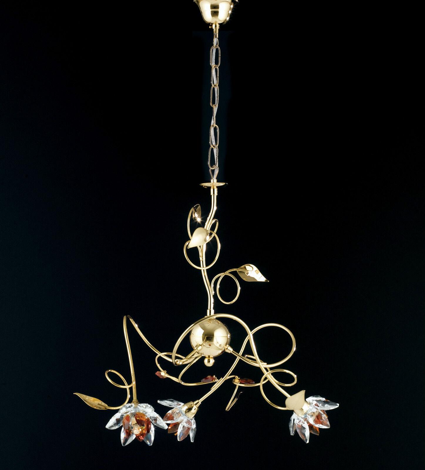 Lampadario sospensione classico ferro battuto battuto battuto cristalli fiori strass cromo oro | Impeccable  dd0f01