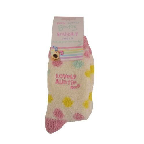 Boofle Lovely Auntie xxx Pair Fluffy Slipper Socks Women Size 4-7 Snuggly Gift
