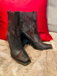 DONALD-PLINER-Brown-Ankle-Boot-Women-Distressed-Leather-Heel-Bootie-Shoe-6M-398
