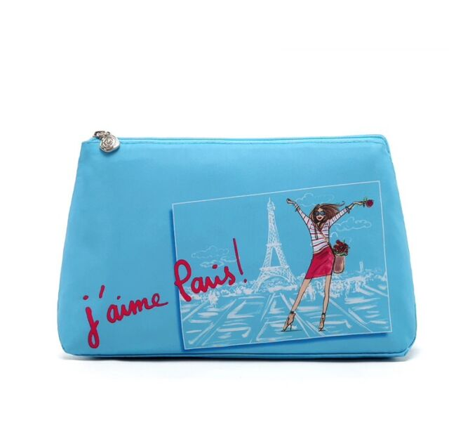 Womens Fashion Paris Eiffel Tower Blue Cosmetic Purse with Zipper brand new
