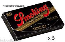 5 Libritos de Papel de fumar, liar tabaco Smoking de luxe 300. Rolling paper.