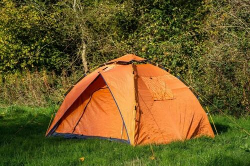 Quick up Easy Pitch Festival camping Tent Orange Olpro 2 Person POP Tent