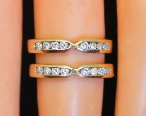 Gorgeous Estate 14K Gold Women's 1/3 Ct RB Diamond Wedding Ring Wrap Accent