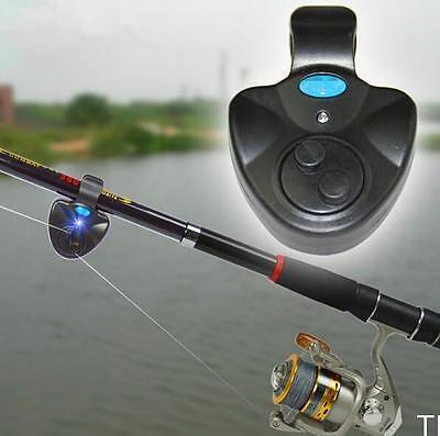 TI AU Black Electronic LED Light Fish Bite Sound Alarm Bell Clip On Fishing Rod