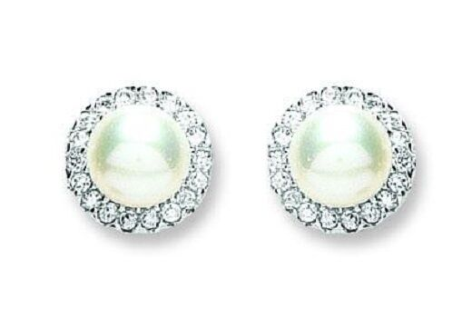RHODIUM PLATED 925 HALLMARKED SILVER ROUND WHITE PEARL HALO STUD EARRINGS