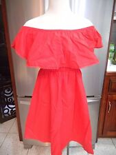 RED SUN DRESS STRAPLESS W RUFFLE THE OFF SHOULDER SZ S
