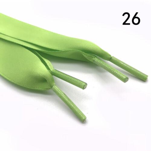 Hot 120cm Flat Silk Ribbon Shoelaces Shoe Laces f Sneaker Sport Shoes 2CM Wide