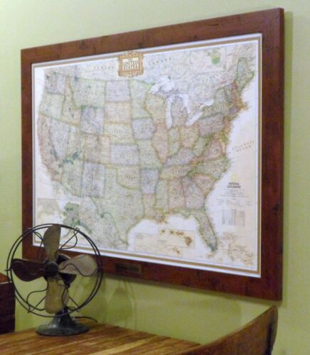 United States Earth-toned Push Pin Travel Map with Pins and Rustic Walnut Frame