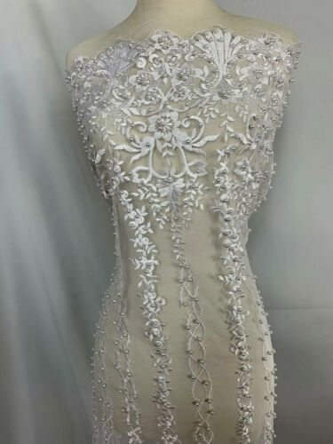 White Design Beaded Fabric,Lace bridal prom dress By The Yard-Embroider