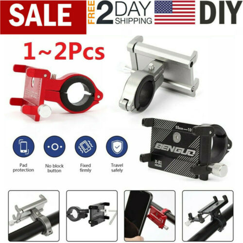 1~2Pcs Aluminum Motorcycle Bike Bicycle Cell Phone Holder Mount Handlebar GPS US
