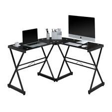 Black L Shaped Glass Computer Desk