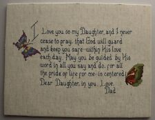 """""""I Love You Daughter"""" Poem Prayer Butterflies Cross Stitch Completed Unframed"""