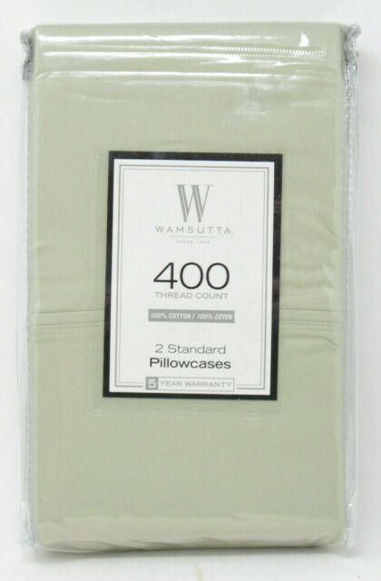 Set of 2 Wamsutta 400 Thread Count 100/% Cotton Standard Pillowcases Sage