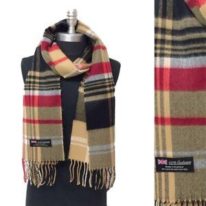 NEW Men Women 100/% CASHMERE SCARF Scotland Soft Wool Wrap Plaid Black Gray Red