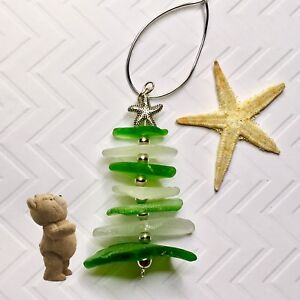 Details About Sea Glass Christmas Ornament Beach Glass Sea Glass Art Beach Christmas Tree