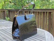 Vintage 1950's Alligator Black handbag purse