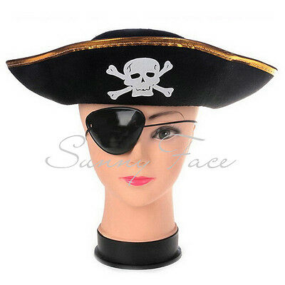 Fashion Handsome Pirate Hat Buccaneer Captain Cap Party Favor Gift Golden Brim