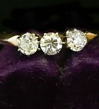 Art DECO 14ct Gold Diamond (0.42ct) three stone engagement ring.  Circa 1920