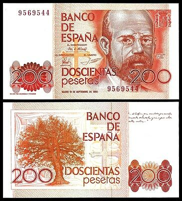 Spain 200 PESETAS 1980 P 156 UNC W/O SERIE
